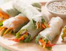 Persimmon Prawn Rice Paper Roll