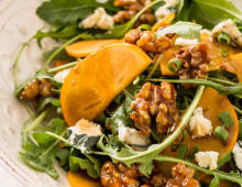 Persimmon, Rocket, Blue Cheese & Candied Walnut Salad