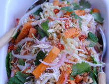 Poached Chicken Salad with Sweet Persimmon & Somtan Dressing
