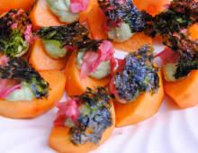 Sweet Persimmons with Avocado, Pickled Ginger & Korean Seaweed