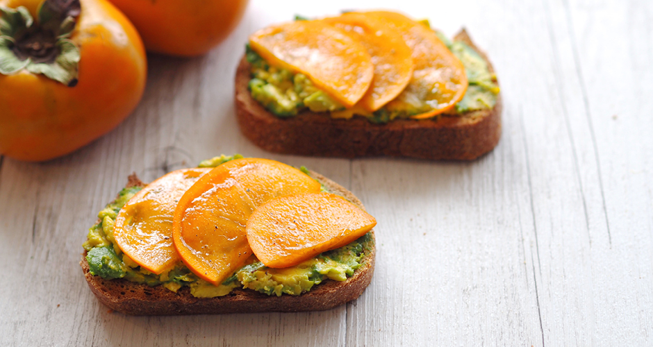 Persimmon-Smashed Avocado with Sweet Persimmon